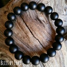 Matte Black Onyx Stretch Bracelet  BlissbyCori
