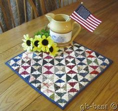 "Americana 1890s Broken Dishes TABLE Doll Antique Quilt Blue 16 x 16 1/2"" #11"