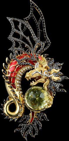 Pendant 6486 Collection: Mysticism  18K yellow and white gold 750, citrine 6,19 ct, diamonds, black diamonds, enamel.  Similar products: