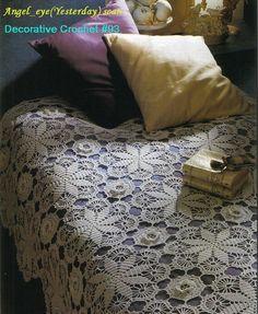 Pretty circles make this bedspread with diagrams pretti circl, afghan, crochet blanket, colcha de, crochet bedspread