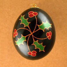 Pysanky Ukrainian Easter Egg Holly Hand Decorated Chicken Egg Christmas Ornament. $10.00, via Etsy.