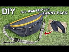 I recycled old jeans into make a fanny pack today. Fanny Pack Pattern, Bag Pattern Free, Bag Patterns To Sew, Denim Tote Bags, Diy Tote Bag, Denim Purse, Diy Jeans, Old Jeans Recycle, Jean Diy