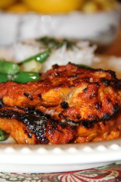 This is one of my favorite chicken dishes. It's rich in flavor, healthy, and full of protein. Did you know that greek yogurt has 18 grams of protein per serving! I probably eat more of the yogur. try this with cauliflower, cut into steaks. Healthy Chicken Recipes, Meat Recipes, Indian Food Recipes, Asian Recipes, Dinner Recipes, Cooking Recipes, Pakistani Chicken Recipes, Recipies, Pakistani Recipes