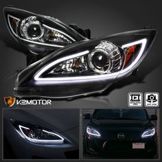 For Mazda 3 Black LED Strip Projector Headlights Lamps Pair Left+Right Mazda 3 2012, Mazda 3 Mps, Mazda 2, Mazda 3 Sedan, Mazda 3 Hatchback, Mazda 3 Black, 2013 Chevy Silverado, Car Paint Jobs, Chevy 1500