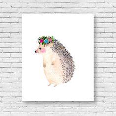 Watercolor hedgehog Woodland nursery Animal by zuhalkanar on Etsy 3df6626020a