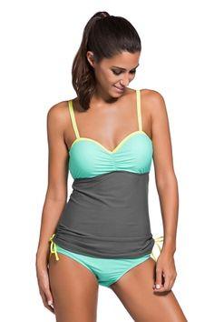 28905e0227 US  6.88-Grey Light Blue Colorblock 2pcs Tankini Swimsuit Dropshipping  Bandeau Swim Tops