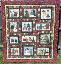 APPLIQUE SNOWMAN QUILT - Made by Madge Hardin - quilted by DLQ by DLQuilts, via Flickr