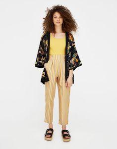 Pull&Bear - pantalon rayé à pinces - moutarde - 05680373-V2018