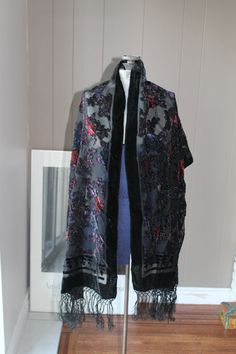 Sheer Black Scarf with Velvet Flowers and Silk Fringe by Liinaloom, $21.00