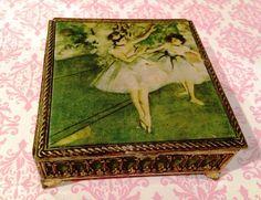 Ballet Trinket Box Ballet Jewel Box Ballerina by DartmouthHill Fabric Covered Boxes, Ballerina Jewelry Box, Vintage Ballet, Scroll Design, Filigree Design, Jewel Box, Green Velvet, Keepsake Boxes, Makers Mark