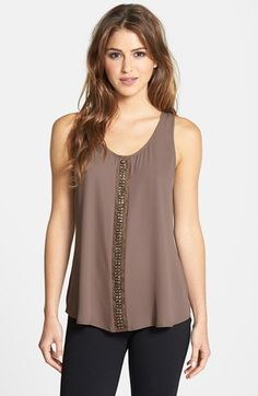 Free shipping and returns on Bellatrix Beaded Detail Tank at Nordstrom.com. A flowy scoop-neck tank goes from simple to sensational courtesy of a beaded panel at the center front. Mom Outfits, Everyday Outfits, Fashion Outfits, Womens Fashion, Dress Shirts For Women, Clothes For Women, Kurta Patterns, Casual Summer Outfits For Women, Plain Tops