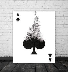 Ace Of Spades Playing Card Art Printable Decor Black White Art Card Game Room Art Poker Gift Smoke Art Black White Print Wall Poster Ace Of Spades Tattoo, Ass Tattoo, Karten Tattoos, Design Garage, Ace Card, Playing Cards Art, Gaming Tattoo, Smoke Art, Black White Art