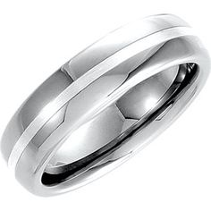 Ring Size 11 Security Jewelers Tungsten 6.3mm Flat Band with Black Enamel Inlay Size 11