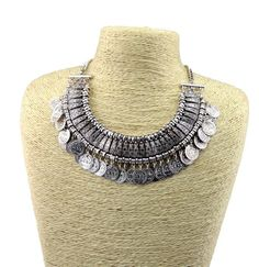2014 New Vintage Style Silver Carving Flower Letter Round Coin Tassels Choker Shourouk Necklace False Collar for women