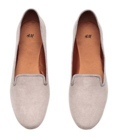 Light taupe. Loafers in imitation suede with grosgrain trim. Satin lining, satin insoles, and rubber soles.