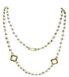 Natural Silver And Golden Pyrite Clover Charm 24k Gold Plated Beaded Necklace