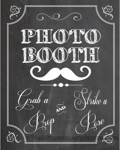 Wedding photo booth chalkboard sign - Personalized & Printable Chalkboard poster, custom wedding sign