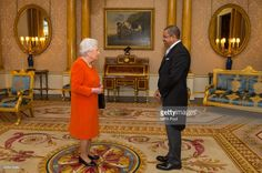 Queen Elizabeth II meets the High Commissioner for the Seychelles Derick Ally during a private audience at Buckingham Palace on February 15, 2017 in London, England.