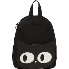 0656335bb69c Womens Ladies Black Canvas Cat Face Goth Wicca School Uni Backpack...  (1