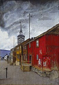 Harald Sohlberg - Street in Røros, 1902 at National Museum of Art Oslo Norway Dulwich Picture Gallery, Google Art Project, European Paintings, Oil Painting Reproductions, Berg, Graffiti, National Museum, Oeuvre D'art, Art Google
