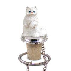 Persian White Cat Bottle Stopper