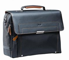 Computer Bag Monza Executive black and orange Leather and black Nylon Computer Bag. Fully lined. Dimensions: 400 × 320 × (L x H x W)