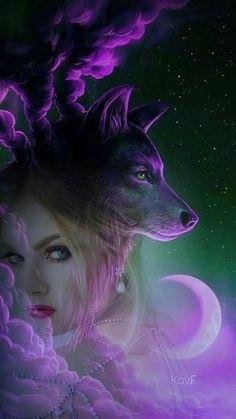 Love the purple. Also Saved by Celtic 🐉 Dragon. Wolves And Women, Image Blog, Wolf Spirit Animal, Wolf Artwork, Werewolf Art, Fantasy Wolf, Wolf Wallpaper, Wolf Love, Beautiful Fantasy Art