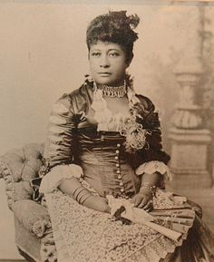 Princess Miriam Likelike (13 Jan 1851-2 Feb 1887) Hawaii sister of King Kalakaua & Queen Liliuokalani. Child of High Chief Kepaakea & Big island Chiefess Analea Keohokalole. She married 1870 Scottish horticulturist Archibald Scott Cleghorn when she was age 19 & he was age 35. She was the mother of 1 child Princess Kaiulani (16 Oct 1875-6 Mar 1899) Hawaii. When her brother David Kalakaua became King in 1874 Miriam became Princess. Photo Credit: Hawaii State Archives.