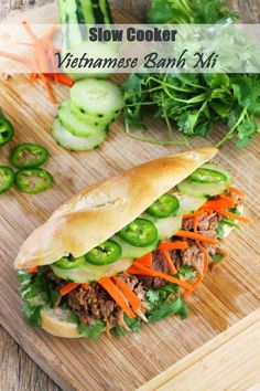 A Banh Mi is my absolute favorite sandwich. The Stay At Home Chef: Slow Cooker Vietnamese Banh Mi Sandwich Vietnamese Banh Mi, Vietnamese Recipes, Asian Recipes, Ethnic Recipes, Vietnamese Sandwich, Slow Cooker Recipes, Crockpot Recipes, Cooking Recipes, Healthy Recipes