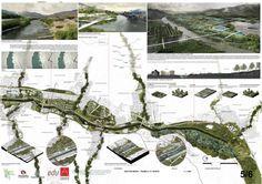 Proposal by Mapas + LAP. Click above to see larger image. Landscape And Urbanism, Landscape Architecture Design, Landscape Plans, Landscape Drawings, Architecture Drawings, Urban Landscape, Landscape Architects, Parque Linear, Architecture Presentation Board
