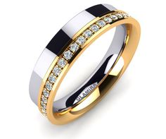 White And Yellow Gold Two Color Wedding Band With Diamonds: Certified Womens Engagement And Wedding Rings