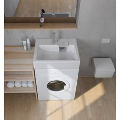 Space-saving washbasin, designed to be installed above a washing-machine. Maximum space-saving in a small bathroom ! Tiny House Bathroom, Laundry In Bathroom, Small Bathroom, Small Washing Machine, Light Wooden Floor, Small Toilet Room, Mini Bad, Tiny Bath, Paint Colors For Living Room