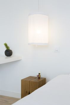 Wood stool, modern space, white and wood