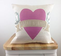 """Cute and simple. Cute and sweet, this personalized pillow makes a great gift for a couple or the bestest of friends.   You can also add an optional message to the back for an extra $5. Choose between a 10"""" mini pillow or 16"""" throw pillow.   Material: Natural Cotton Canvas Printed using eco-friendly inks in Chicago, IL.  This cover can be machine washed (in cold water) just lay flat to dry Shipping: This pillow ships WITH AN INSERT in 1-3 business days via USPS priority Mail."""