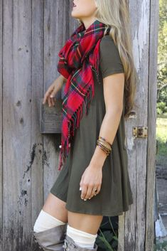 Keep It Casual Olive Short Sleeve Jersey Shirt Dress and scarf paired with jeans