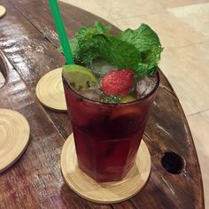 Its Mojito Strawberry time prepared by the so beautiful @girl_from_island #thailand #phuket #mojito #loveisinthemintleaves