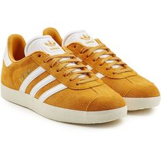 Adidas Originals Gazelle Suede Sneakers ($110) ❤ liked on Polyvore featuring shoes, sneakers, gold, suede leather shoes, mustard yellow sneakers, adidas originals sneakers, suede trainers and suede material shoes