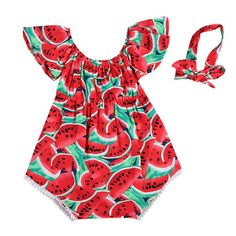 632bba134288 Newborn Baby Girls Watermelon Clothes Kids Summer Casual Sleeveless Red  Romper Jumpsuit Outfits Playsuit 0-24M
