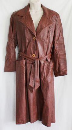 Vintage Leather Trench Coat 70s Oscar De La Renta Brown Womens Hipster Retro #OscardelaRenta #Trench