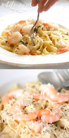 Bursting with fresh flavor this is an incredibly easy white wine sauce recipe that is perfect for pasta seafood and chicken dishes It s light and refreshing for spring summer and fall Make it tonight start to finish in less than 15 minutes Seafood Pasta Recipes, Pasta Sauce Recipes, Seafood Appetizers, Seafood Dishes, Recipe For Pasta, Pasta With Seafood, Healthy Sauces For Pasta, Shrimp Fettucini Recipes, Light Pasta Recipes