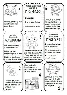 Fiche initiatrice d'histoires de monstres: lancer le dé, lire le début de l'histoire, et écrire la suite sur la page du carnet correspondante. D'autres idées d'histoires aussi, pour ceux qui ont envie! French Teaching Resources, Teaching French, Writing A Book, Writing Prompts, French Practice, Education And Literacy, Core French, French Classroom, French Immersion