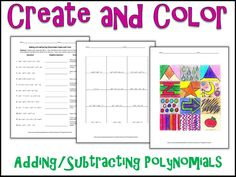 Adding and Subtracting Polynomials Color by Number HS