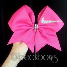Pink with Sparkly Nike Swoosh 3 Cheer Bow by beckbows on Etsy Cute Cheer Bows, Cheer Mom, Big Bows, Cheer Stuff, Softball Bows, Cheerleading Bows, Softball Hair, Volleyball, Cheer Quotes