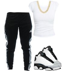 A fashion look from February 2015 featuring going out tops, adidas activewear and chain jewelry. Browse and shop related looks.