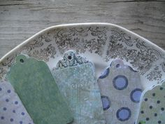 50 Misc Green Blue Gray Tags  Shabby Chic Gift by TheVelvetVine, $7.00