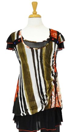 This lovely fully lined tunic comes in a pattern of off white, brown, olive and orange print - Fabric is polyester + viscose making it slightly stretchable for a great fit- Frilled short sleeves look very cute- Fully lined and not see through- Uneven hem