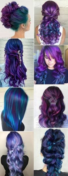 Purple and blue hair hair styles are all the rage, especially now when the hot s.,Purple and blue hair hair styles are all the rage, especially now when the hot season is approaching and we wish to experiment with the hair color. Cool Hair Color, Hair Colors, Colours, Peacock Hair Color, Galaxy Hair Color, Unicorn Hair Color, Crazy Hair, Weird Hair, Pretty Hairstyles