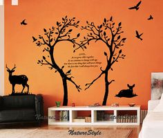 Two Trees with two Deer and Flying Birds