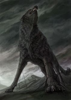 Fenrir lobo na mitologia nórdica. O filho de Loki, deus de malícia e giganta Angrboda.