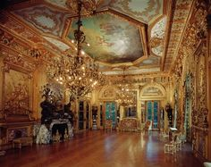 """Richard Morris Hunt and Jules Allard et Fils, bronze figures by Karl Bitter, draperies by Prelle & Co, and ceiling painting depicting Minerva by an unknown eighteenth century French artist. The Grand Salon """"Gold Room"""" at #Marblehouse. 1895.  Gilded Age interior.  The Grand Salon, Marble House. #Newport, RI. USA.  #historic #mansions #mansion #gildedage #art #architecture #luxury #interiordecoration  #interiordesign #decor #julesallard #RhodeIsland"""